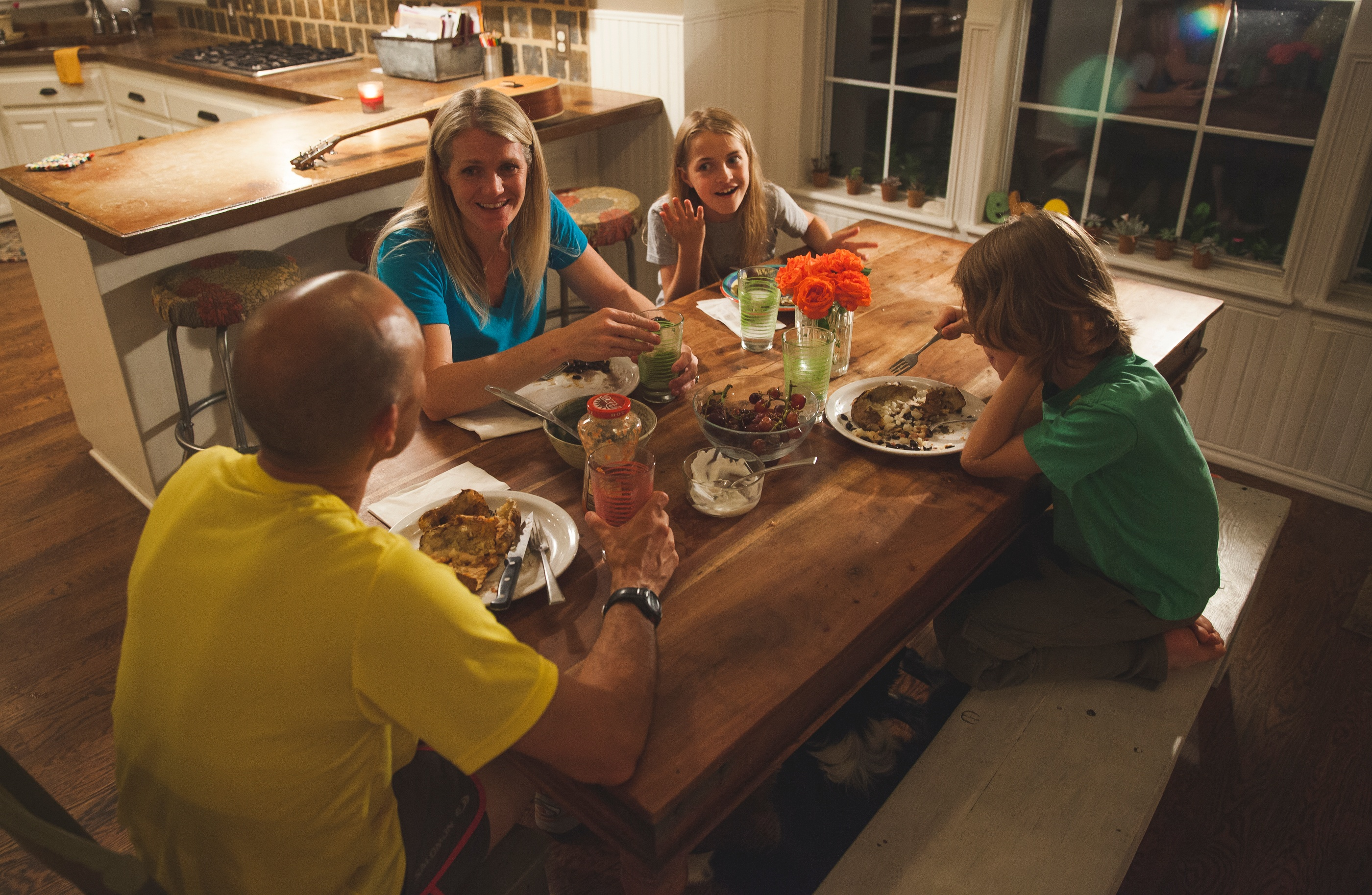 dinner at the table with family